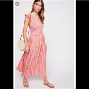 NWT free people butterflies chambray dress red M